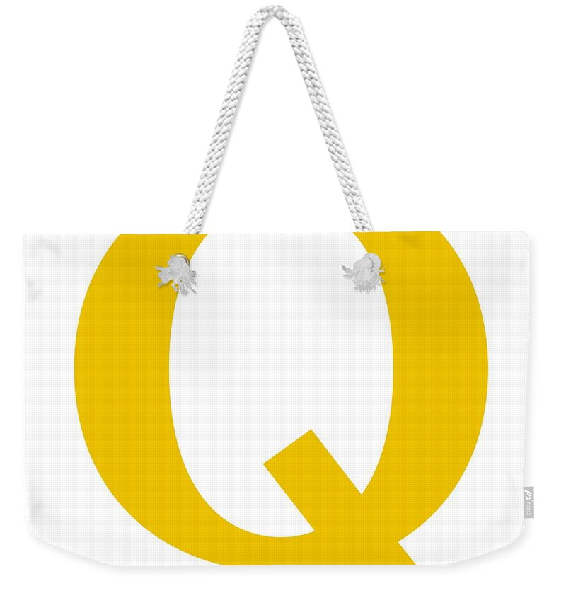 Q Weekender Tote Bag featuring the digital art Q In Mustard Typewriter Style by Custom Home Fashions