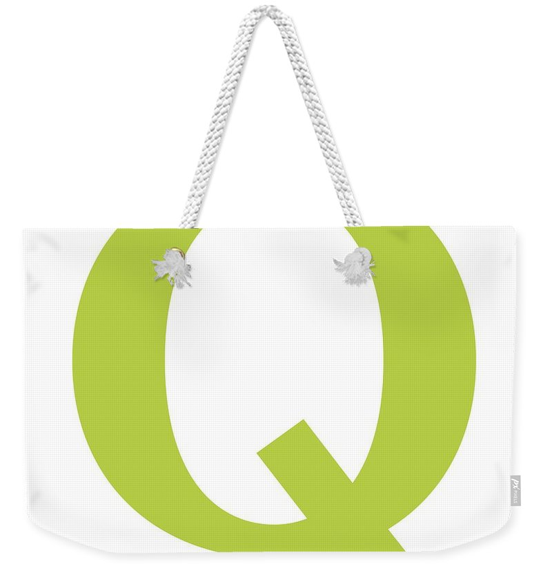 Q Weekender Tote Bag featuring the digital art Q In Spring Green Typewriter Style by Custom Home Fashions