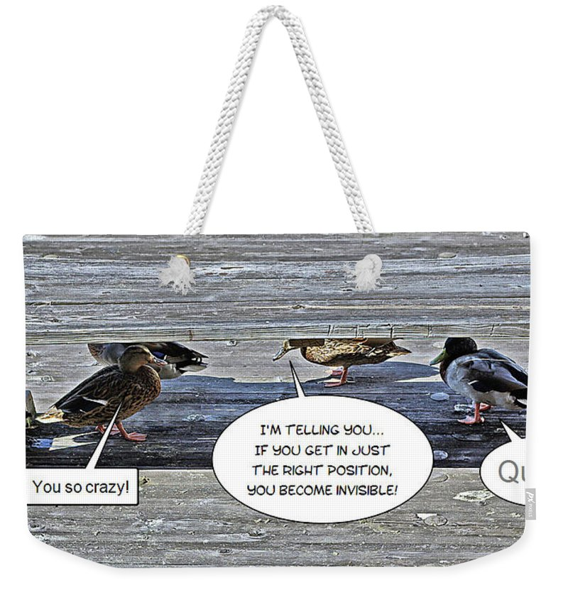 2d Weekender Tote Bag featuring the photograph Quack by Brian Wallace
