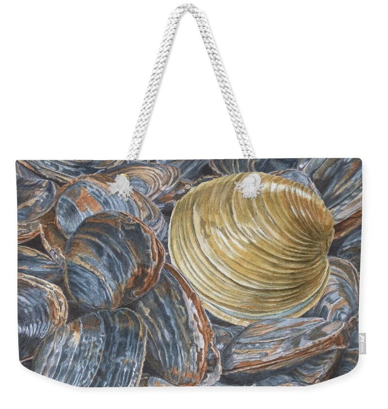 Quahog Weekender Tote Bag featuring the painting Quahog On Clams by Dominic White