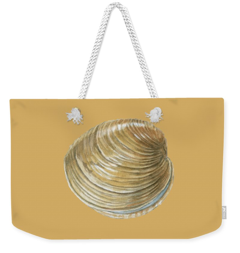 Quahog Weekender Tote Bag featuring the painting Quahog Shell by Dominic White
