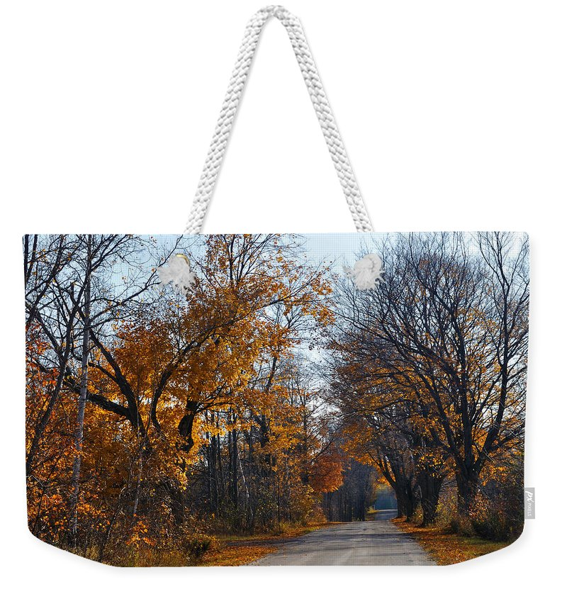 Road Weekender Tote Bag featuring the photograph Quarterline Road by Tim Nyberg