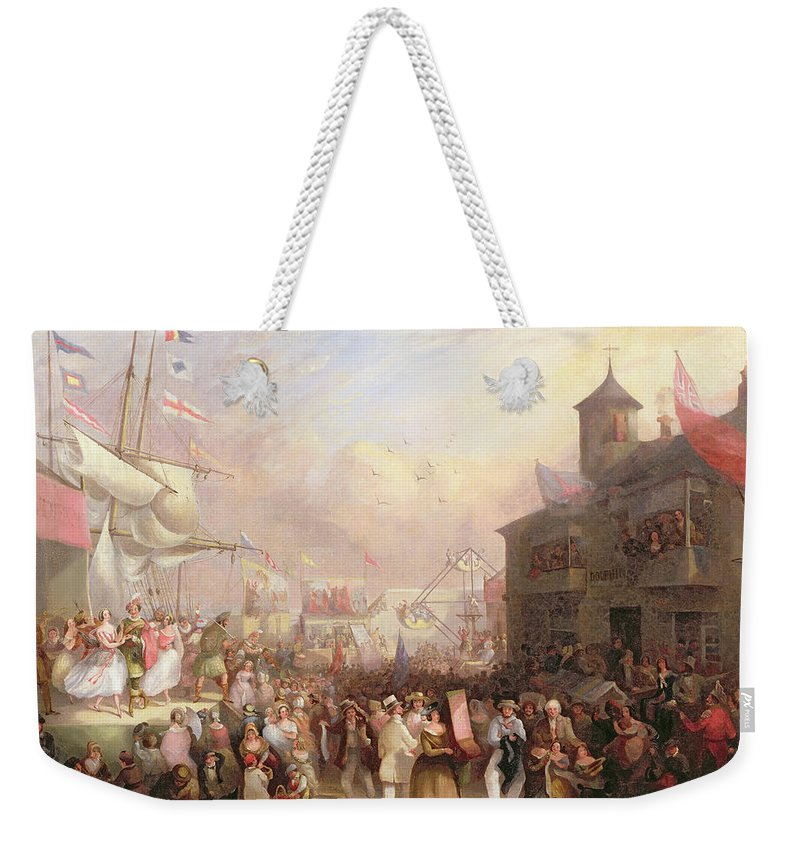 Quay Weekender Tote Bag featuring the painting Quay Fair by John Grenfell Moyle