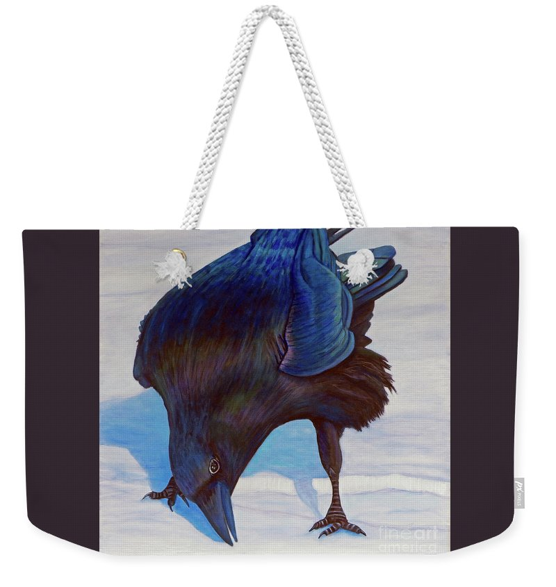 Raven Weekender Tote Bag featuring the painting Que Pasa by Brian Commerford