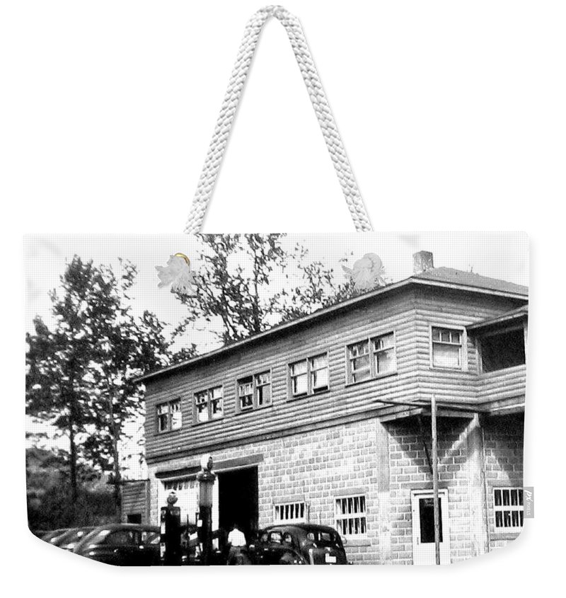 B&w Vintage Photo Weekender Tote Bag featuring the photograph Quebec Garage 1940s by Will Borden