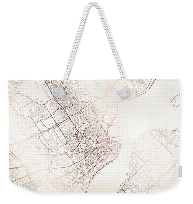 Map Weekender Tote Bag featuring the digital art Quebec Street Map Colorful Copper Modern Minimalist by Jurq Studio