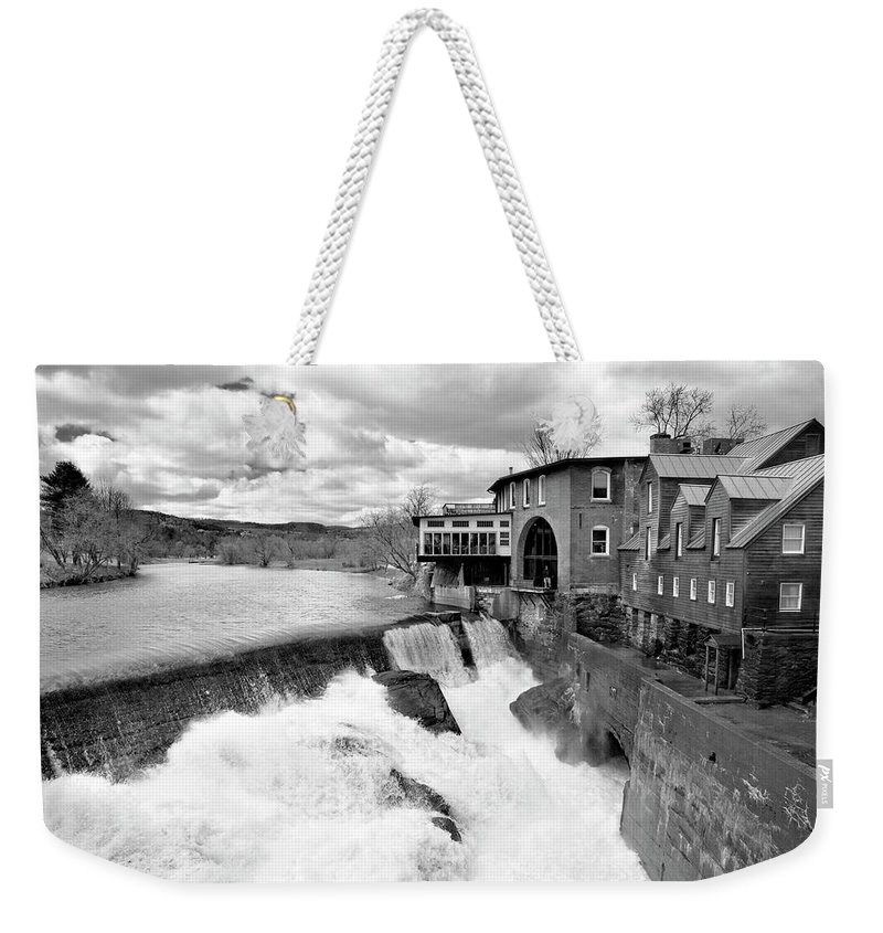 Covered Bridge Weekender Tote Bag featuring the photograph Quechee's Thaw by Greg Fortier