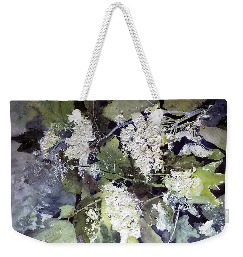 Queen Annes Lace Weekender Tote Bag featuring the painting Queen Anne's Lace by Connie Williams