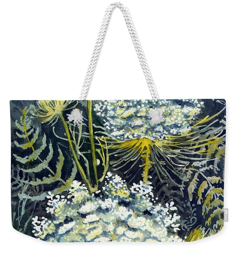 Wildflowers Weekender Tote Bag featuring the painting Queen Anne's Lace by Katherine Miller
