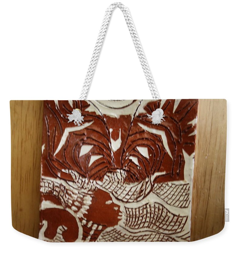 Jesus Weekender Tote Bag featuring the ceramic art Queen Esther - Tile by Gloria Ssali