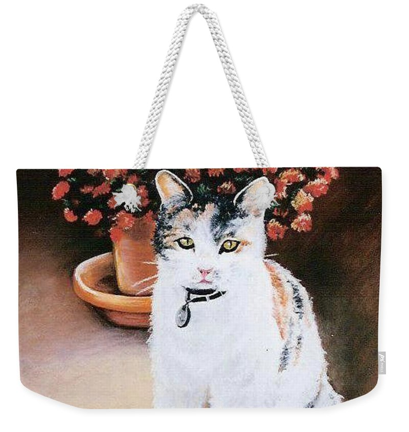 Cat Weekender Tote Bag featuring the pastel Queen Marishka by Gale Cochran-Smith