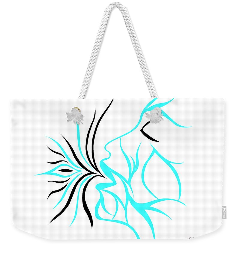 Weekender Tote Bag featuring the digital art Queen Of Hearts by Jamie Lynn
