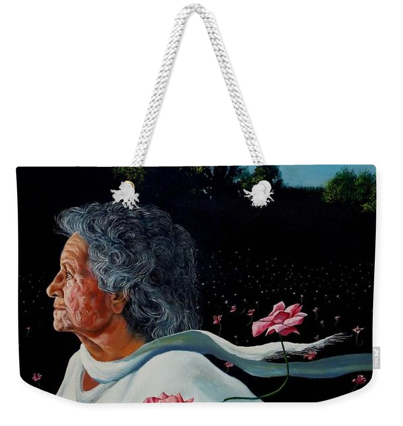 Roses Weekender Tote Bag featuring the painting Queen Of Roses by Christopher Shellhammer