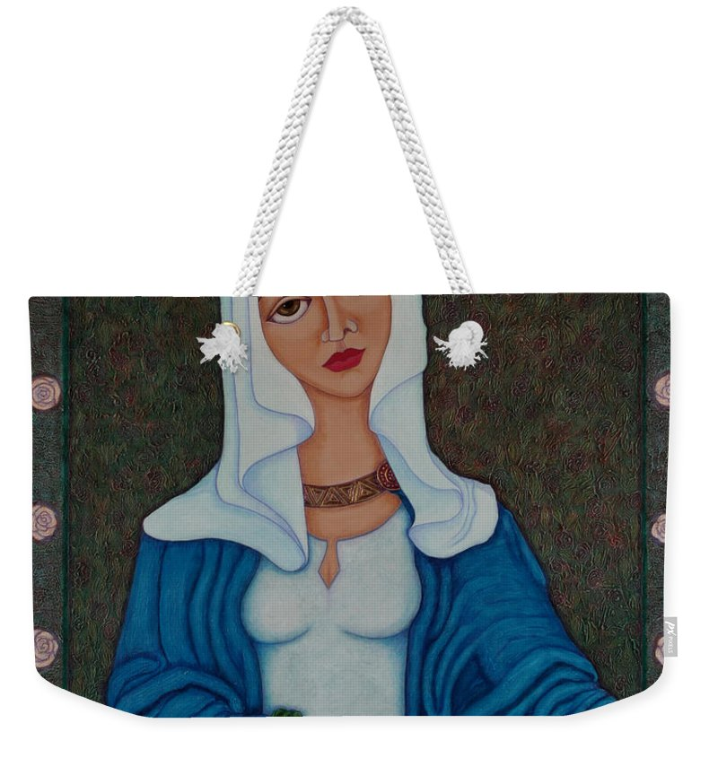 Queen St Isabel Weekender Tote Bag featuring the painting Queen St Isabel - The Miracle Of The Roses by Madalena Lobao-Tello