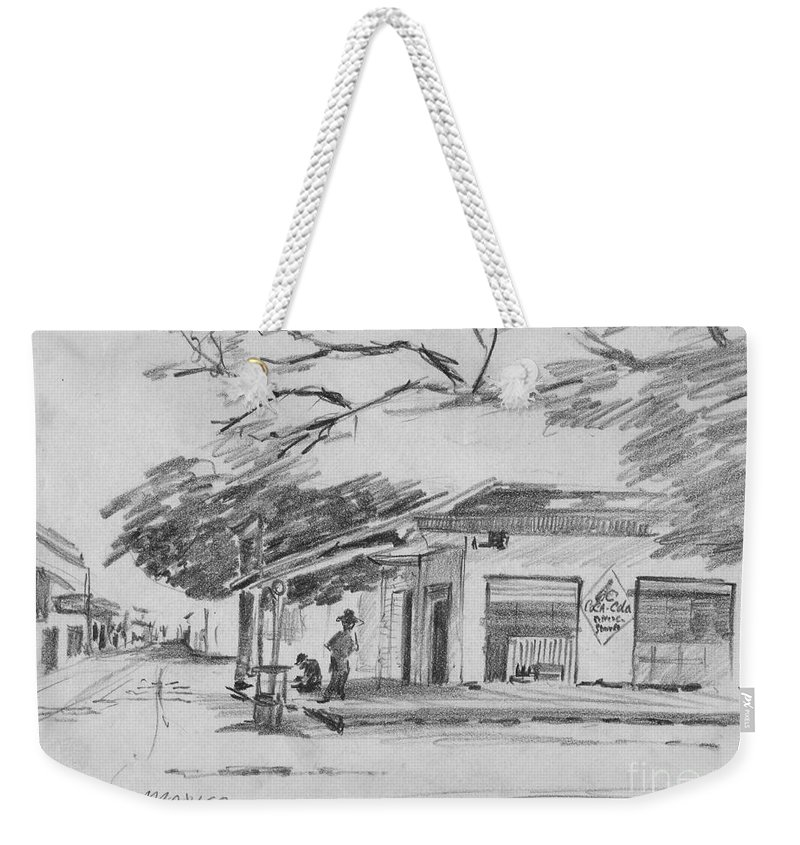 Anthony Van Dyk Weekender Tote Bag featuring the drawing Queretaro, Mx - 1970 by Anthony Vandyk