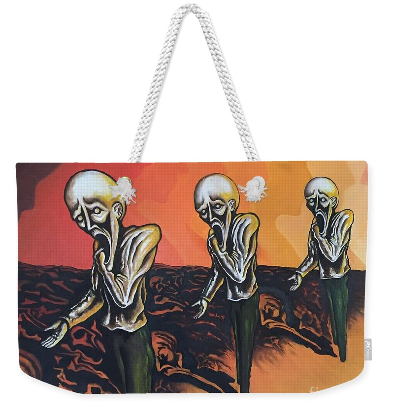 Tmad Weekender Tote Bag featuring the painting Question To Wonder by Michael TMAD Finney