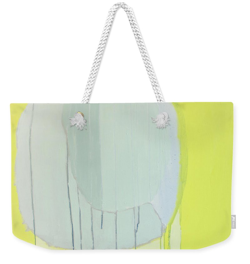 Abstract Weekender Tote Bag featuring the painting Quien Esta? by Claire Desjardins
