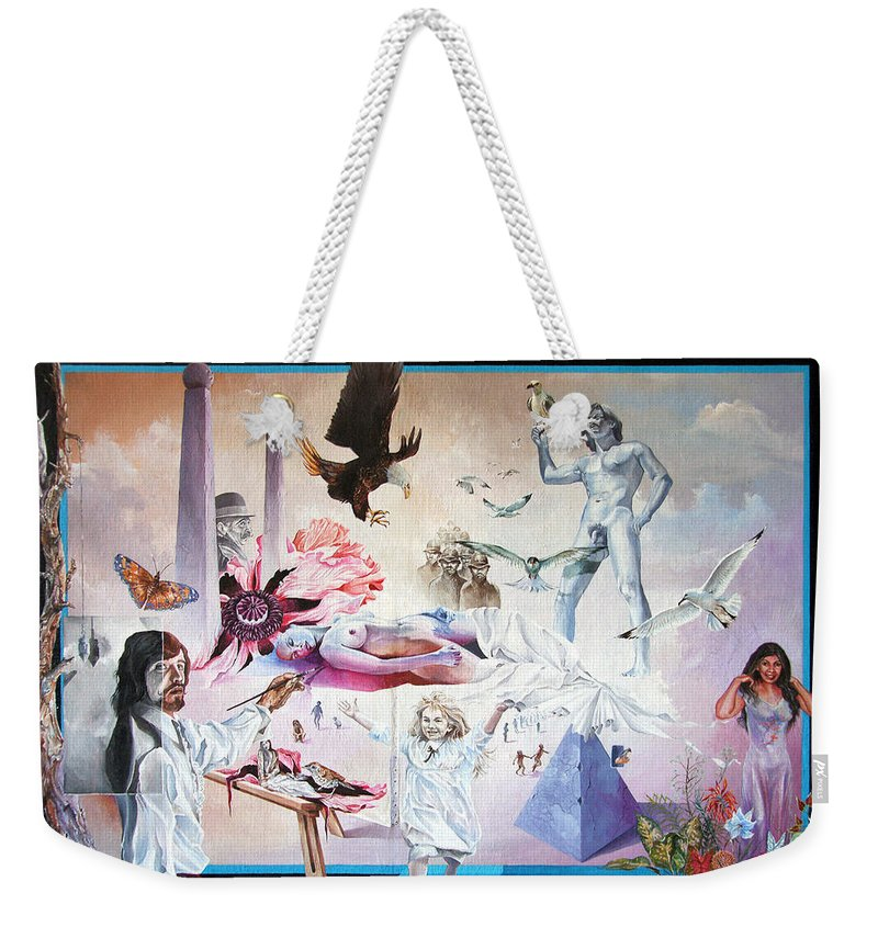 Surrealism Weekender Tote Bag featuring the painting Quiet Afternoon At The Studio by Otto Rapp