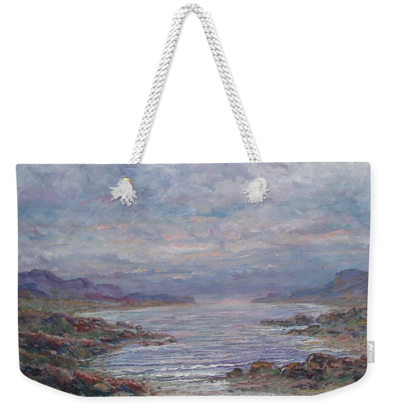 Painting Weekender Tote Bag featuring the painting Quiet Bay. by Leonard Holland