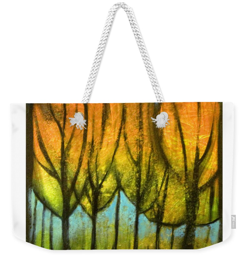 Trees Weekender Tote Bag featuring the painting Quiet Blaze by Tim Nyberg