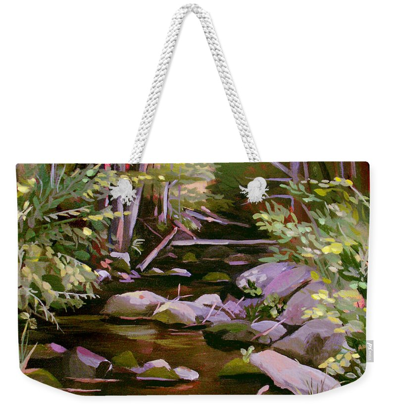 Peoples State Forest Weekender Tote Bag featuring the painting Quiet Brook by Nancy Griswold