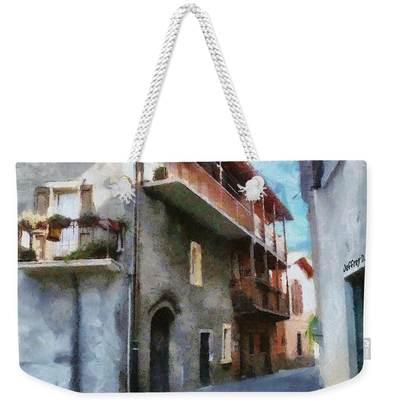 Almenno San Salvatore Weekender Tote Bag featuring the painting Quiet In Almenno San Salvatore by Jeffrey Kolker