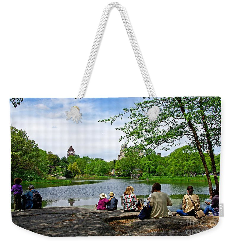 Central Park Weekender Tote Bag featuring the photograph Quiet Moment In Central Park by Zal Latzkovich