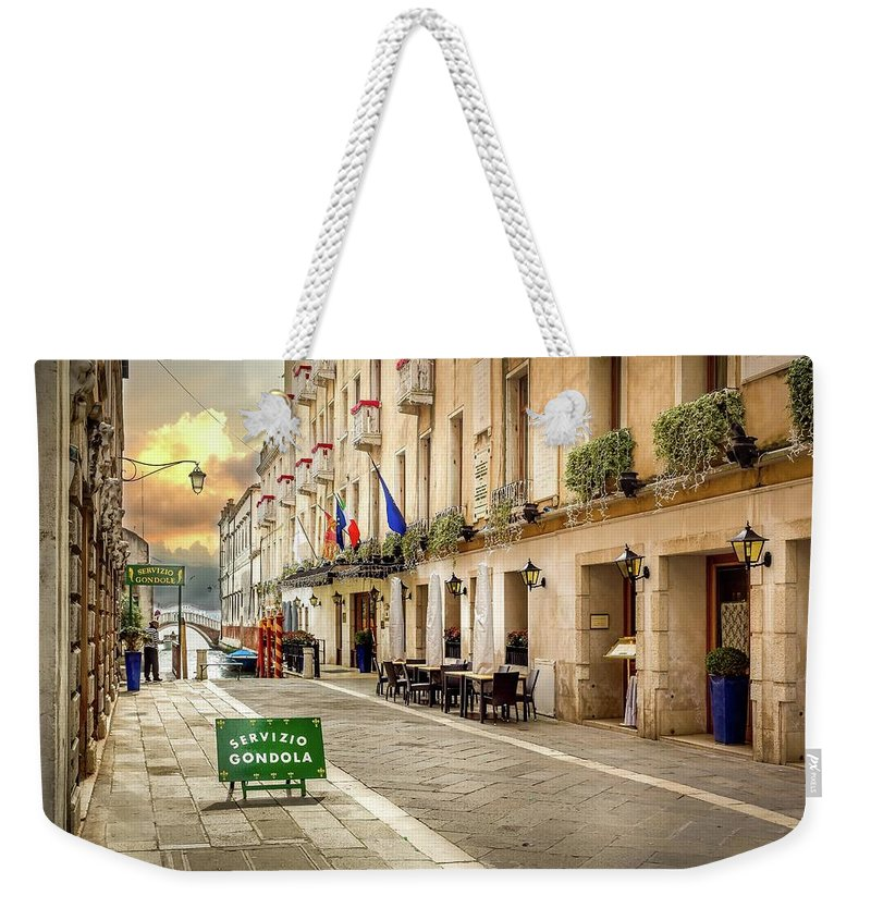 Cityscape Weekender Tote Bag featuring the photograph Quiet Morning In Venezia by Mike Houghton BlueMaxPhotography