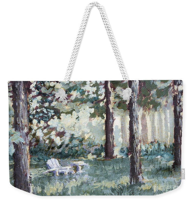 Landscape Weekender Tote Bag featuring the painting Quiet Place by Todd Blanchard