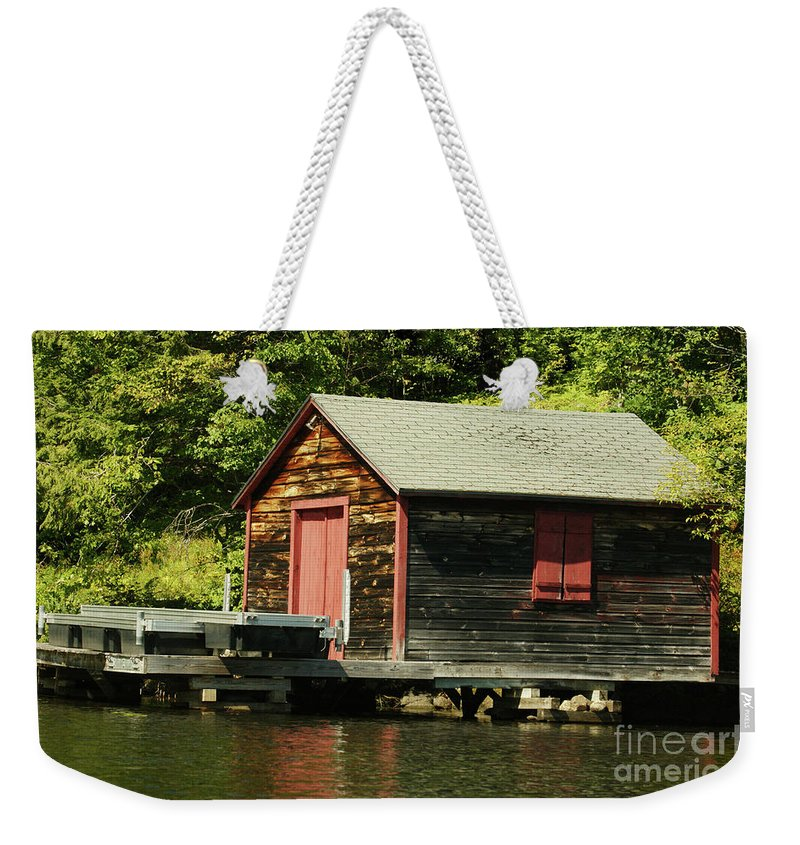 Cabin Weekender Tote Bag featuring the photograph Quiet Sunapee Fishing Cabin by Judy Carr