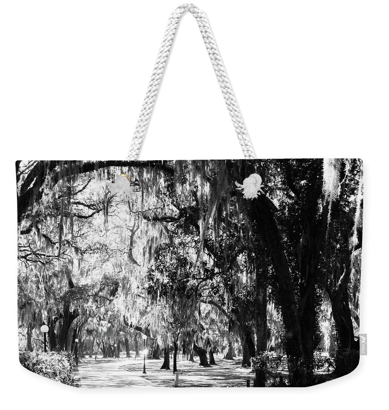 Black And White Weekender Tote Bag featuring the photograph Quiet Walk by Amy Craft