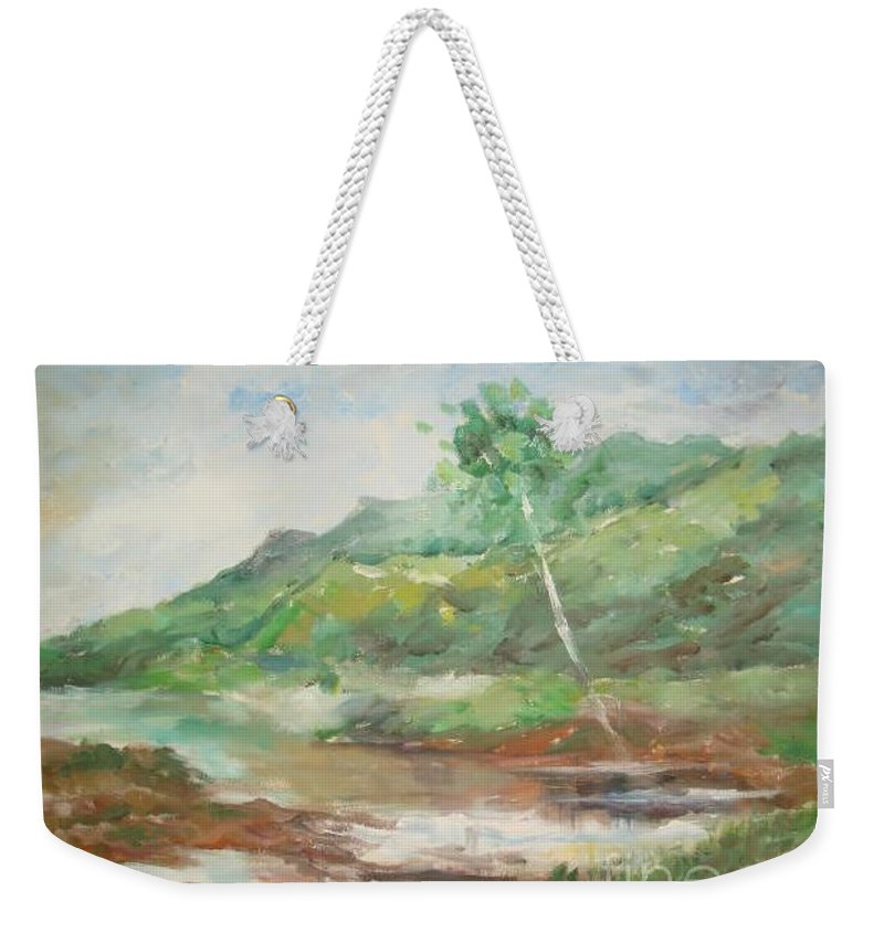 Landscape Weekender Tote Bag featuring the painting Quietness by Rushan Ruzaick