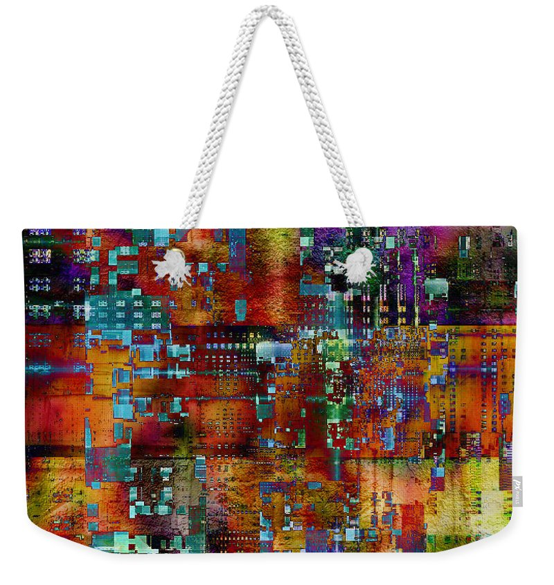 Quilt Weekender Tote Bag featuring the digital art Quilt by Barbara Berney