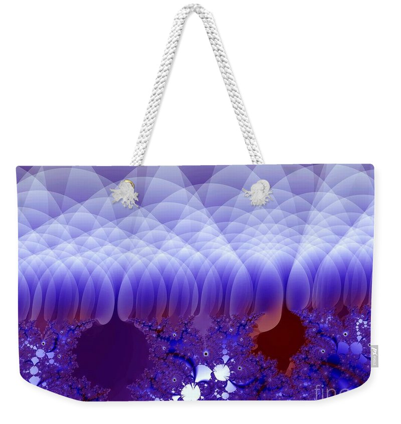 Fractal Image Weekender Tote Bag featuring the digital art Quilted Blue by Ron Bissett