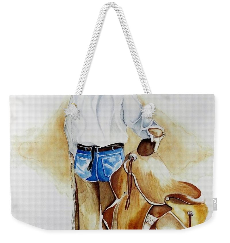 Boots Weekender Tote Bag featuring the painting Quittin Time by Jimmy Smith
