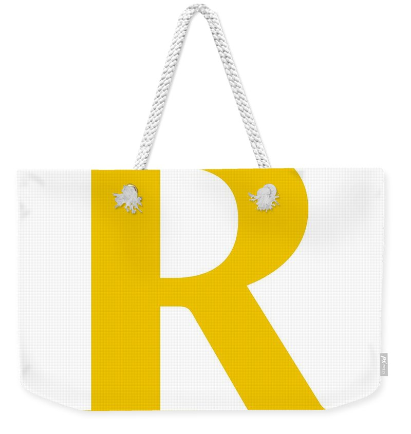 R Weekender Tote Bag featuring the digital art R In Mustard Typewriter Style by Custom Home Fashions