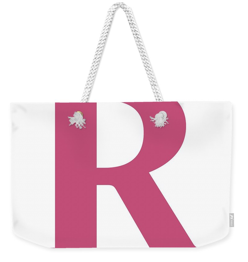 R Weekender Tote Bag featuring the digital art R In Pink Typewriter Style by Custom Home Fashions