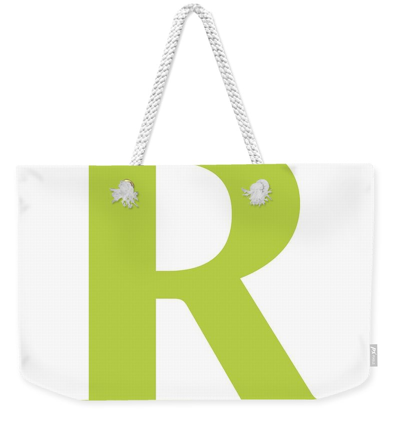 R Weekender Tote Bag featuring the digital art R In Spring Green Typewriter Style by Custom Home Fashions