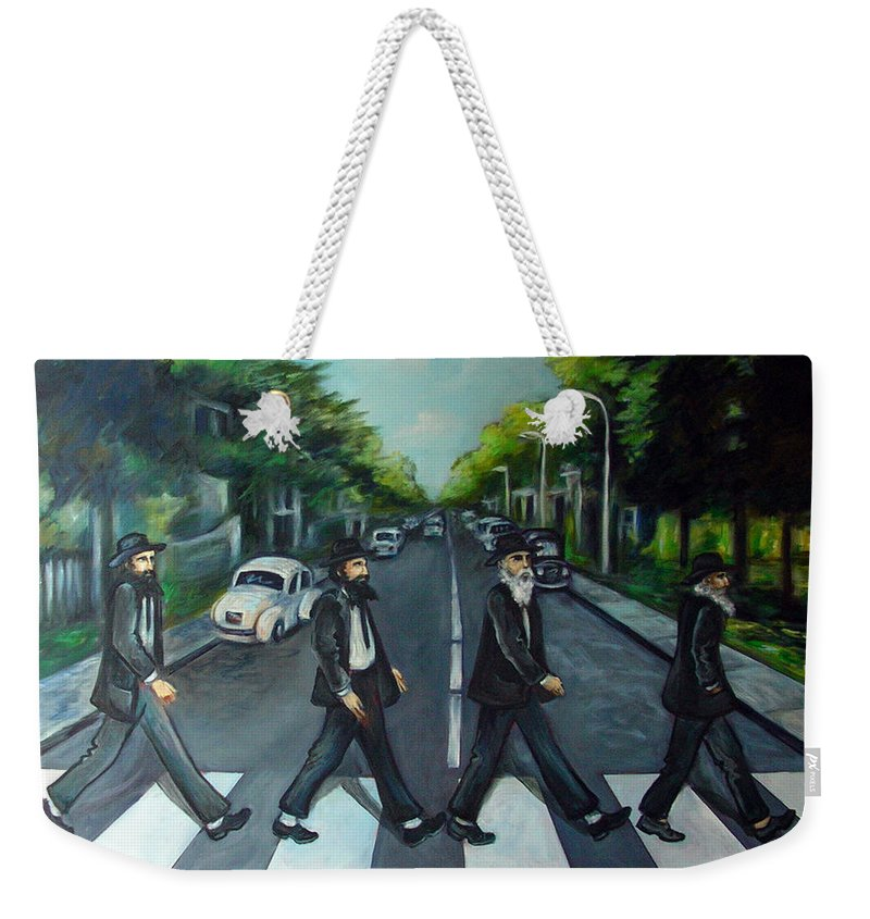 Surreal Weekender Tote Bag featuring the painting Rabbi Road by Valerie Vescovi
