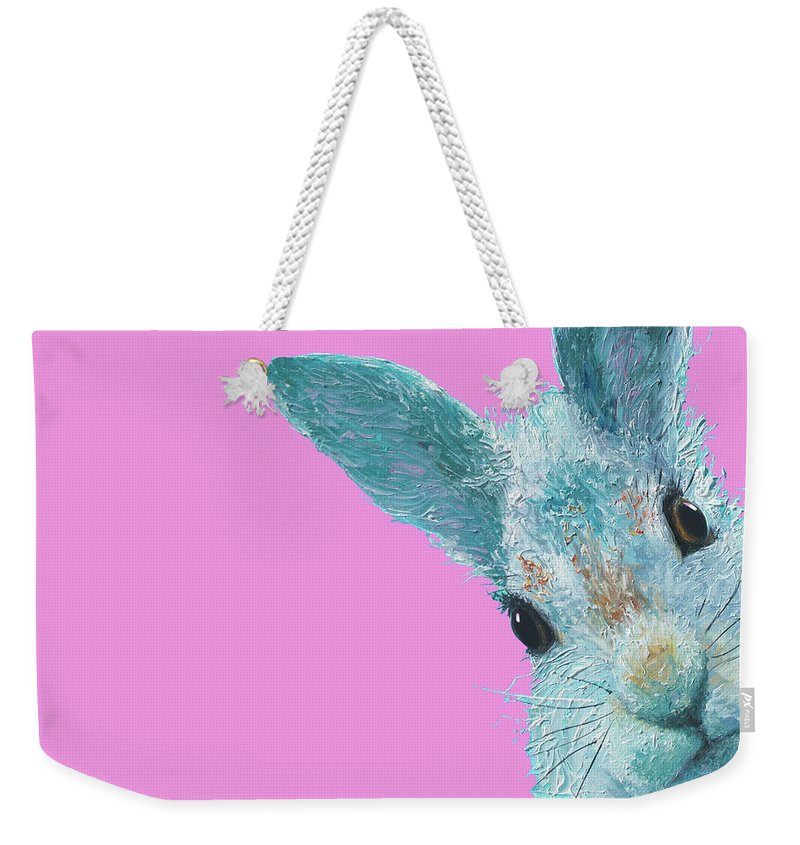 Bunny Weekender Tote Bag featuring the painting Rabbit Eyes by Jan Matson