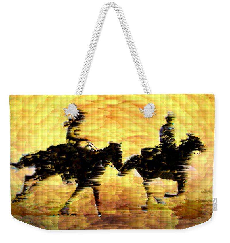 Race Across The Desert Weekender Tote Bag featuring the digital art Race Across the Desert by Seth Weaver