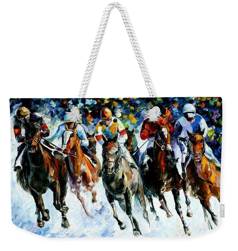 Race Weekender Tote Bag featuring the painting Race On The Snow by Leonid Afremov