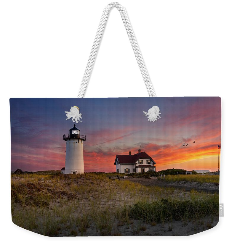 Race Point Light Weekender Tote Bag featuring the photograph Race Point Light Sunset 2015 by Bill Wakeley