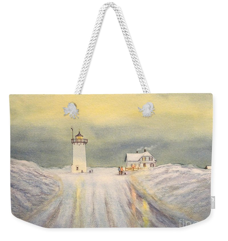 Race Point Lighthouse Weekender Tote Bag featuring the painting Race Point Lighthouse Provincetown by Bill Holkham