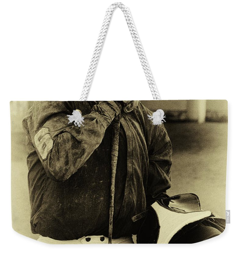 Jockey Weekender Tote Bag featuring the photograph Racetrack Heroes 6 by Bob Christopher