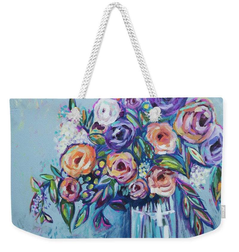 Flower Weekender Tote Bag featuring the painting Rachael's Wedding by Kristin Whitney