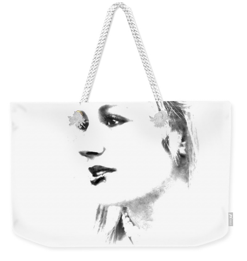 Black And White Weekender Tote Bag featuring the photograph Rachell by Kristie Bonnewell