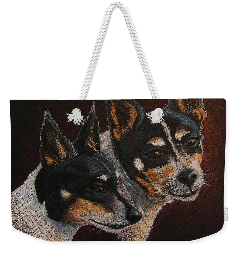 Dogs Weekender Tote Bag featuring the drawing Radar And Ginger by Marilyn Smith