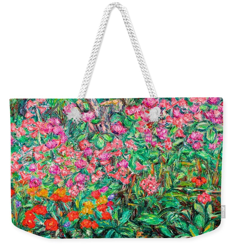 Kendall Kessler Weekender Tote Bag featuring the painting Radford Flower Garden by Kendall Kessler
