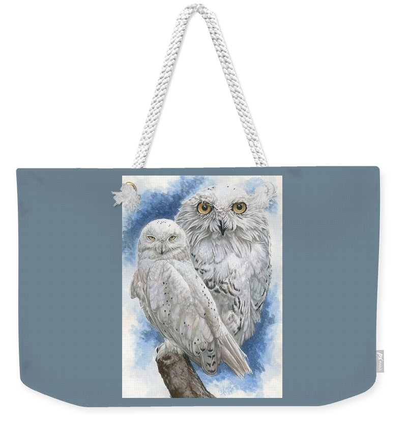 Snowy Owl Weekender Tote Bag featuring the mixed media Radiant by Barbara Keith